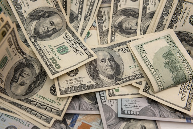 Business background with us dollar bills, financial concept