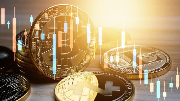 グラフチャート付きのビジネスビットコイン