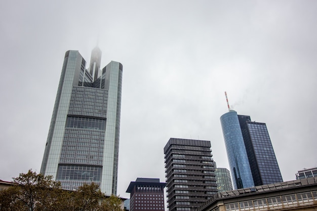 Business buildings at a cloudy day in frankfurt.