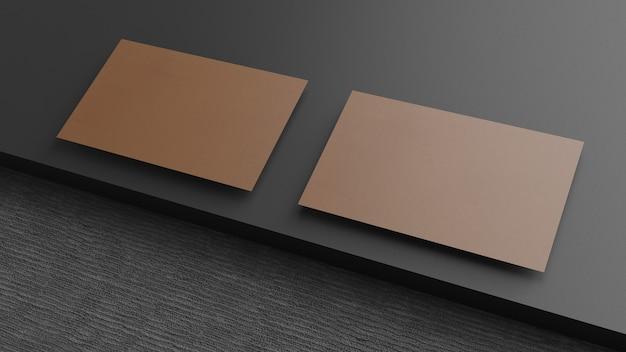 Business card on black table. vintage style, 3d render.