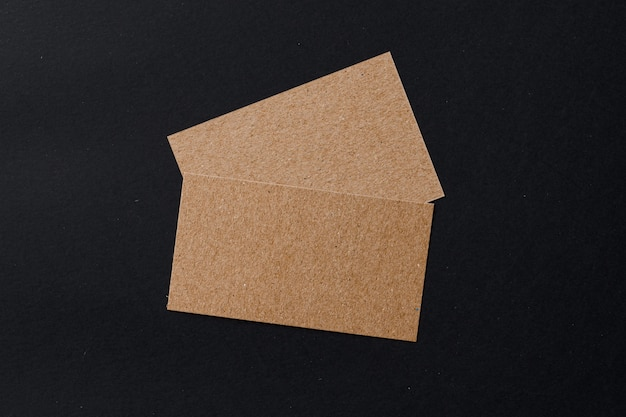 Business card of a craft paper on black