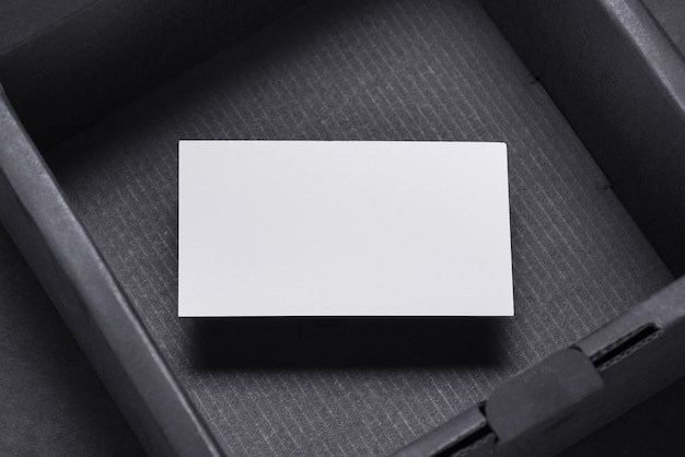 Business card inside of empty black box, mocup