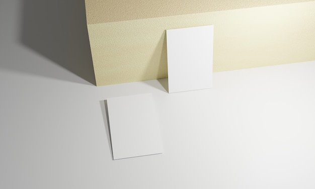 Business card mockup isolated 3d rendering. 3d illustration