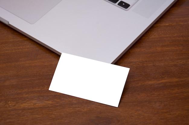 Business card mockup macbook