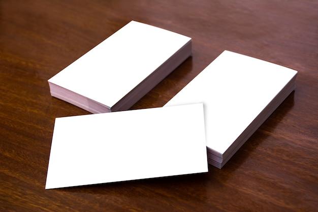 Business card mockup plain wood