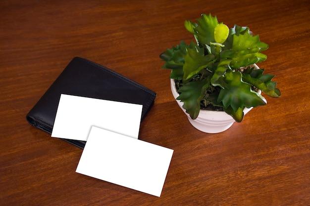 Business card mockup wallet plant