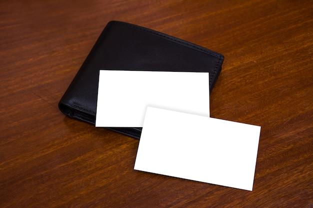 Business card mockup wallet