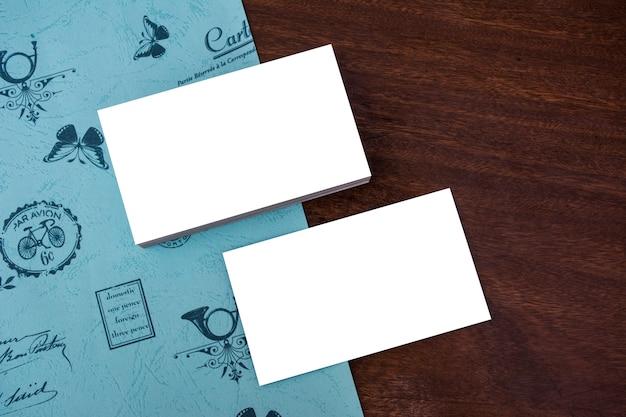 Business card mockup wood blue