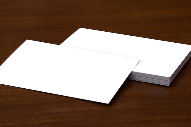 Business card mockup wood plain