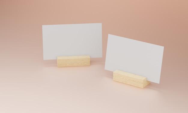 Визитная карточка на деревянной подставке