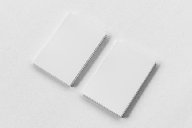 Business card stack on paper white background