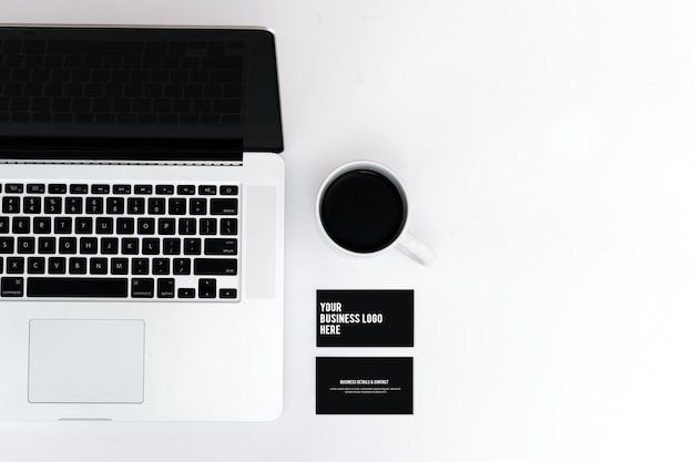 Business card website mockup macbook