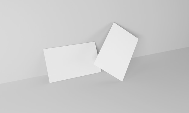 Business card on white background on the side. mockup design. 3d rendering.