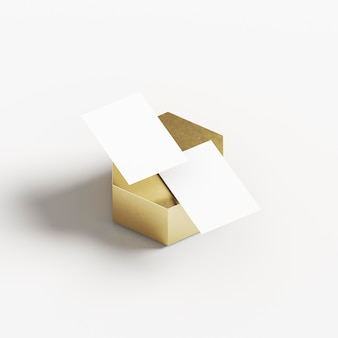 Business cards on golden geometric shape