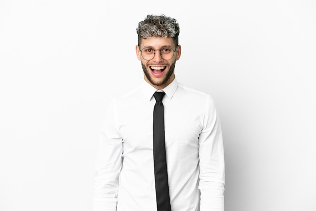 Business caucasian man isolated on white background with surprise facial expression