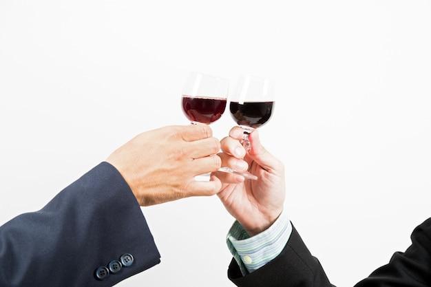 Business celebration with wine