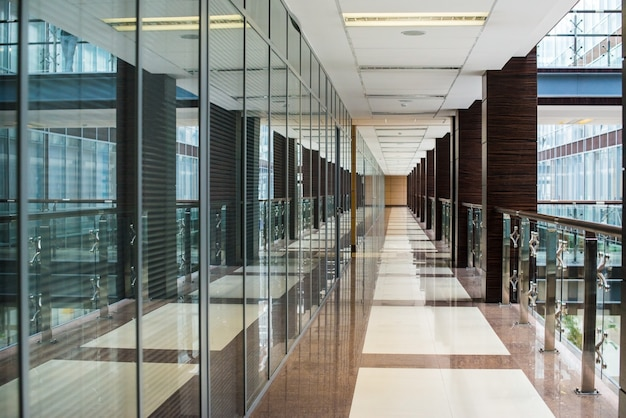 Business center corridor interior glass
