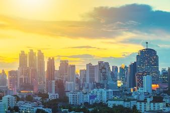 Business city center of Bangkok at sunset with beautiful sky.