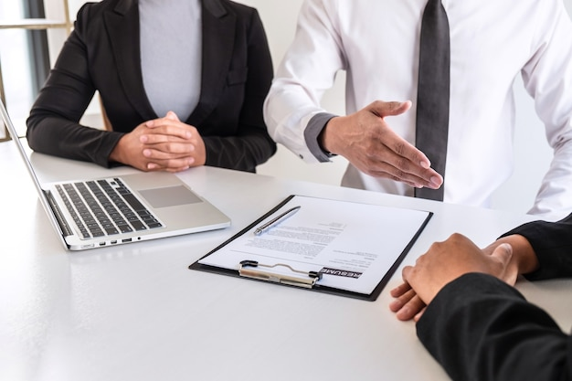Business committee or interviewer consider and asking about profile of candidate