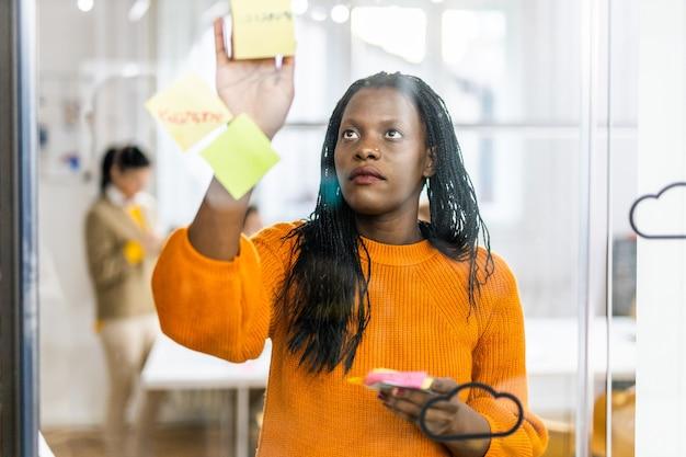 마케팅 계획에 대한 새로운 아이디어를 브레인 스토밍하는 비즈니스 회사 직원