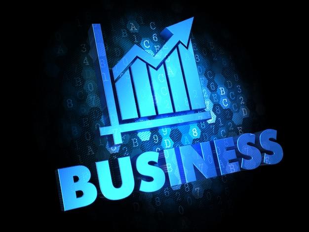 비즈니스 개념-어두운 디지털 배경에 성장 차트 아이콘이있는 파란색 텍스트.
