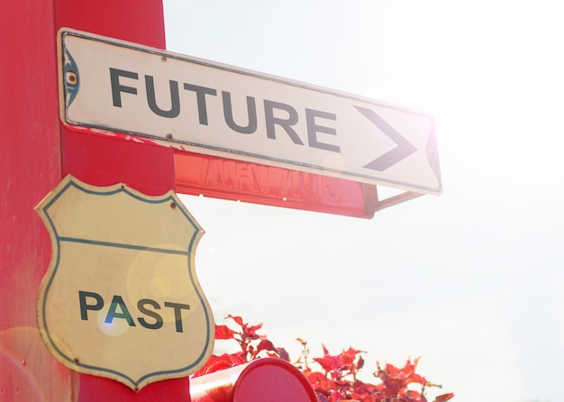 Business concept by old street sign with future and past