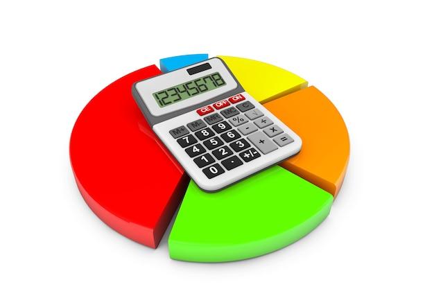 ビジネスコンセプト。白い背景の上の電卓とカラフルなチャート