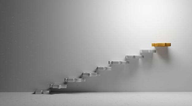 コピースペースミニマルスタイル3dレンダリングと豪華な金属階段ジグソーパズルのビジネスコンセプトデザイン