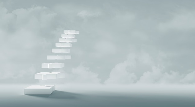 コピースペースミニマルスタイル3dレンダリングと白い階段ジグソーパズルのビジネスコンセプトデザイン