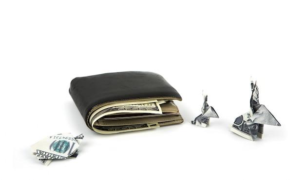 Бизнес-концепция: доллар валюта оригами кролик и черепаха ш