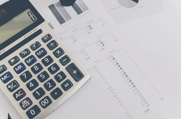 Business concept of financial and accounting with paper sheet of planning data.