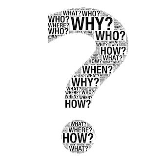 흰색 배경에 물음표로 그리기 질문 단어로 만든 비즈니스 개념