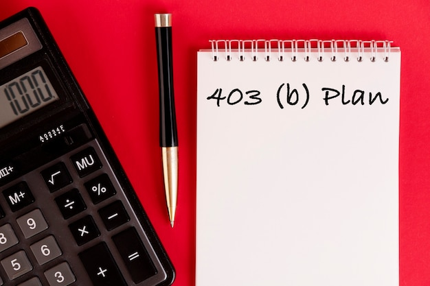 Business concept meaning housing loan, 403 b plan, over red background.