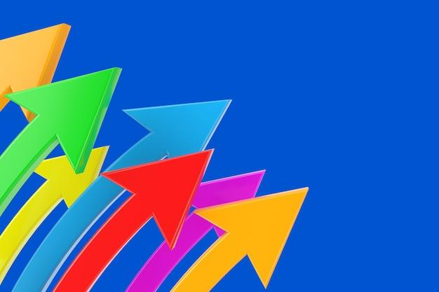 ビジネスコンセプト。青い背景の色とりどりの湾曲した矢印。 3dレンダリング