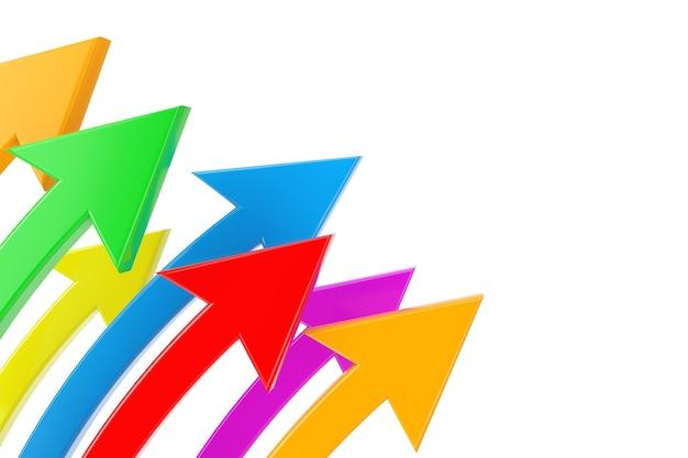 ビジネスコンセプト。白い背景の上の色とりどりの湾曲した矢印。 3dレンダリング