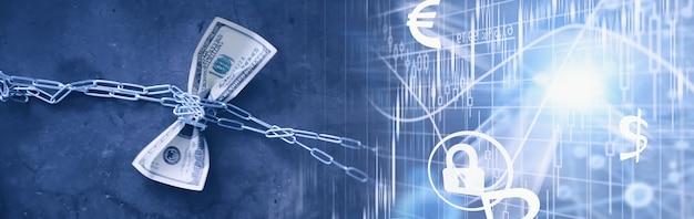 ビジネスコンセプト。国の通貨の減価。百ドル札。インフレと停滞。測定チェーンで百ドル札を締めます。