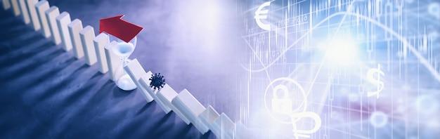 ビジネスコンセプト。ロシアの国の通貨の減価。ルーブルのシンボル。インフレと停滞。国の経済を象徴する抽象的な落下列。