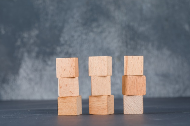 Business concept with nine wooden blocks.