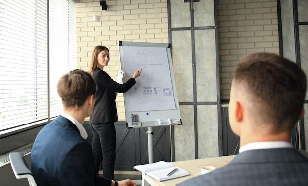 팀 교육 플립 차트 사무실이 있는 비즈니스 회의 프레젠테이션