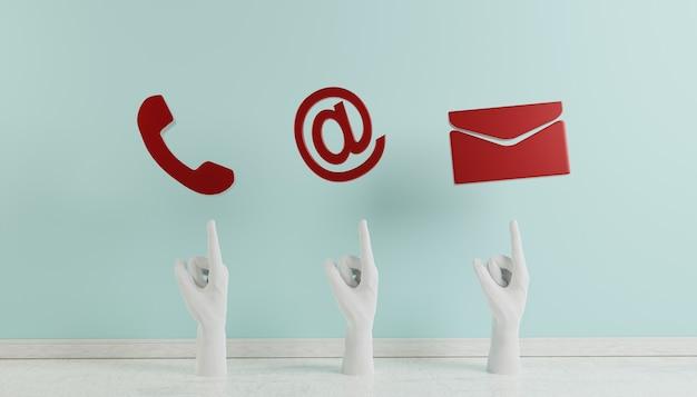 マゼンタの電話の電子メールとアドレスdレンダリングのビジネス連絡先アイコン
