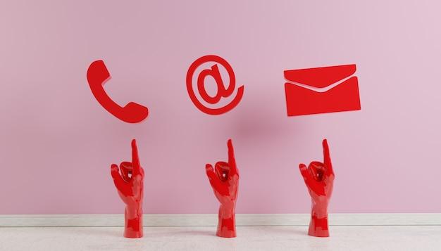 マゼンタの電話の電子メールとアドレスdレンダリングのビジネス連絡先アイコン Premium写真