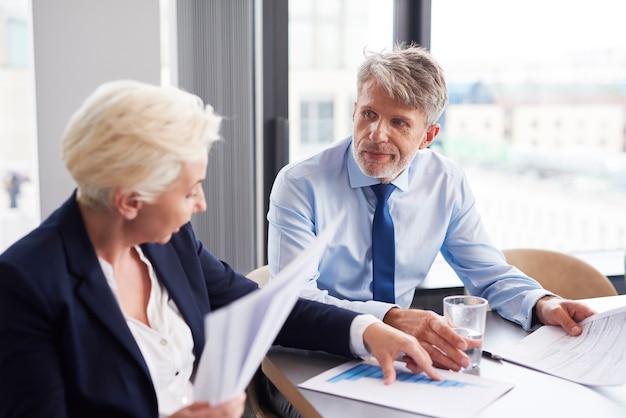 チャートを分析するビジネスカップル