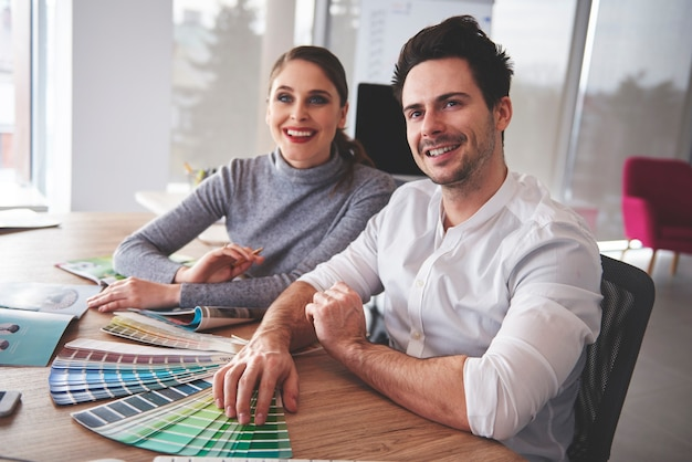 Business couple having meeting in modern office