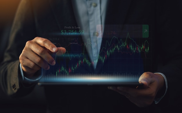 Business data analysis financial with digital augmented reality or ai technology