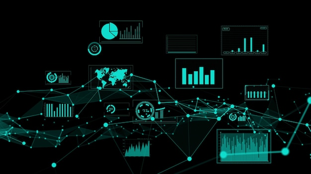Business data and financial figures visualiser graphic