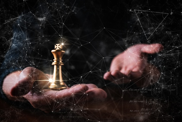 Business decision strategy man hand chess with think action pose black background