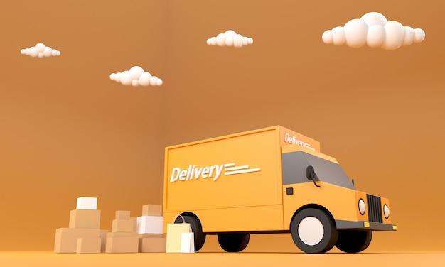 고객에게 보낼 준비가 된 온라인 쇼핑 비즈니스 배달 트럭 통합 속도 및 운송 서비스 광각 렌즈로 사진을 찍습니다.