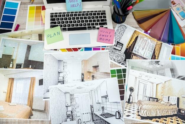 建築家のビジネスデスクとインテリアイラストスケッチワークノートパソコン。家の改修、修理または装飾の概念