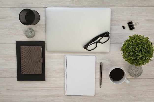 Business desktop objects on a grey table