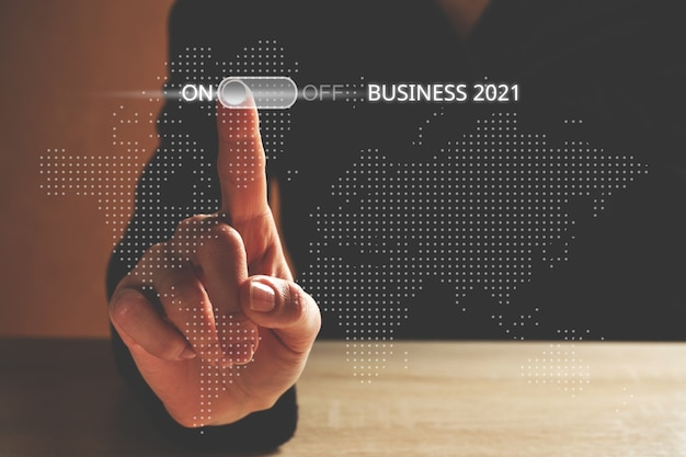Business development concept in 2021 during the covid-19 pandemic.